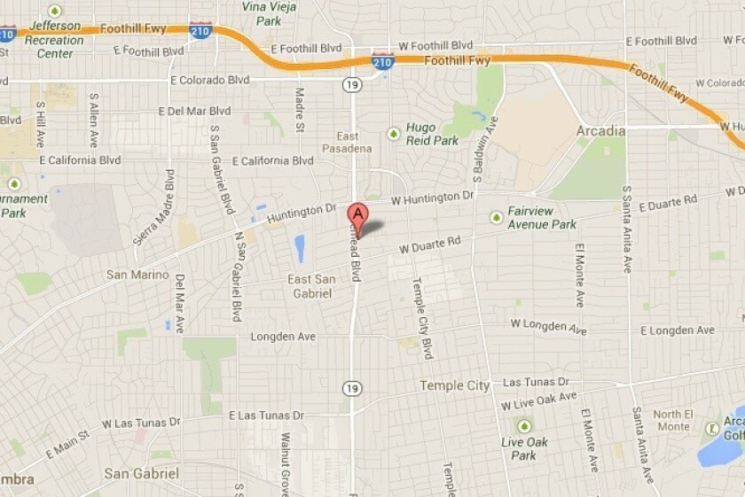 A map shows the approximate location of where a 41-year-old woman was found stabbed to death inside an apartment Tuesday in Arcadia.