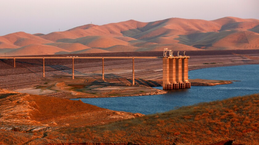 The San Luis Reservoir along California 152, a key part of Silicon Valley's water supply, is only 10% full, its lowest level in 27 years.