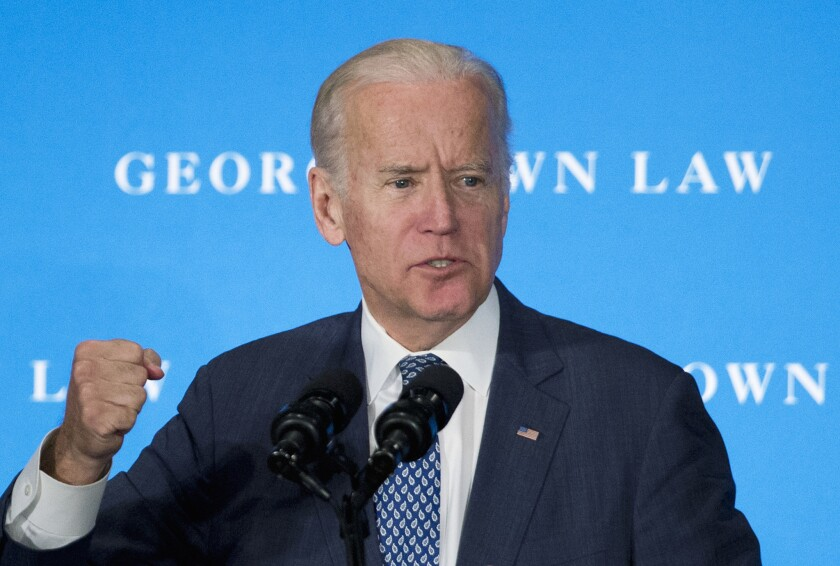 Vice President Joe Biden speaks about the Supreme Court vacancy and confirmation process at the Georgetown University Law Center in Washington on Thursday.