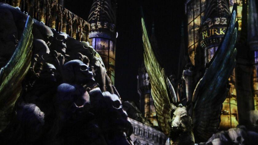 "HOLLYWOOD, CA, THURSDAY, APRIL 11, 2019 - ""Dark Arts at Hogwarts,"" a light show that features projec"