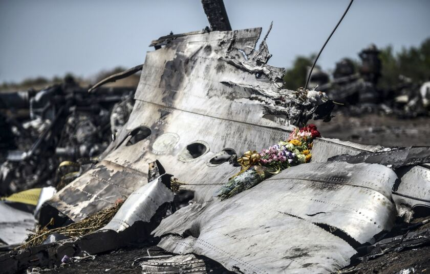 Wreckage from the Malaysia Airlines flight that crashed over Ukraine on July 17, killing all 298 on board.