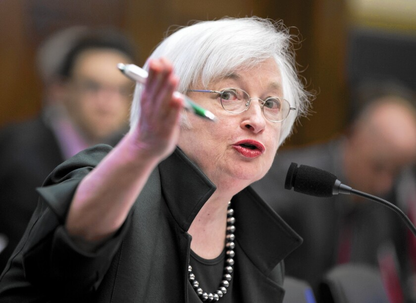Federal Reserve Chairwoman Janet L. Yellen testifies on Capitol Hill in Washington.