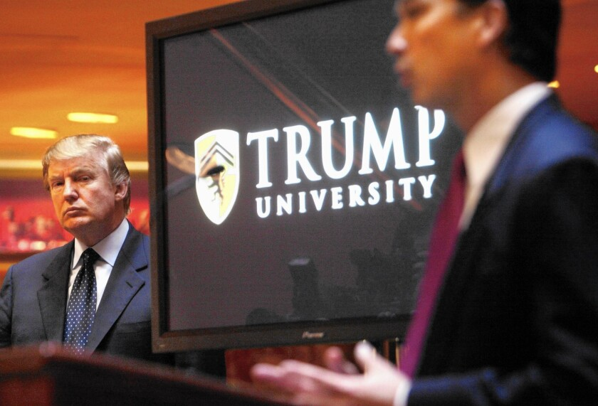 Donald Trump at a 2005 news conference in New York where he announced the establishment of Trump University.
