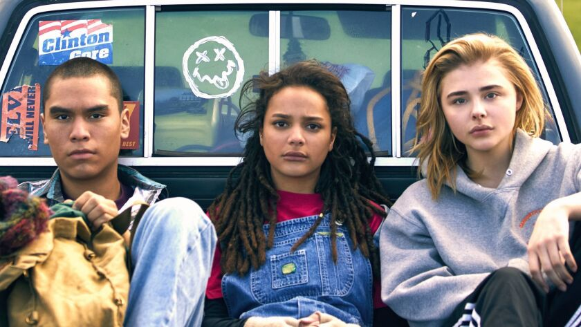 """(L-R) - Forrest Goodluck, Sasha Lane and Chloe Grace Moretz in a scene from """"The Miseducation of Cameron Post."""""""