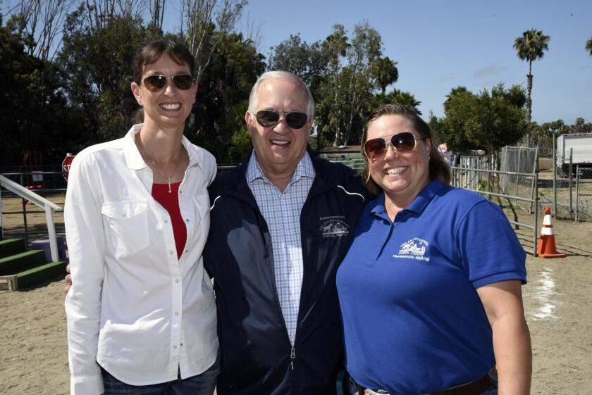 Director of Equine Hospital/Outreach Services Christen Hanley, Helen Woodward President and CEO Mike Arms, Therapeutic Riding Program Manager Courtney Mellor