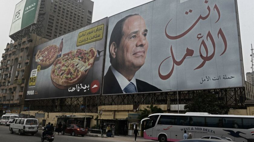 A banner of Egyptian President Abdel Fattah El-Sisi in downtown Cairo, prior to presdential election