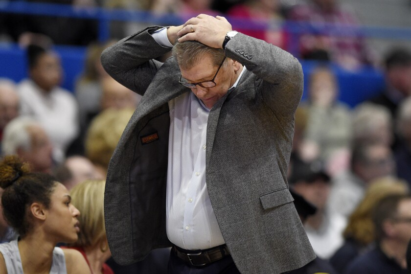 Connecticut coach Geno Auriemma reacts during the second half of the team's NCAA college basketball game against Baylor, Thursday, Jan. 9, 2020, in Hartford, Conn. (AP Photo/Jessica Hill)