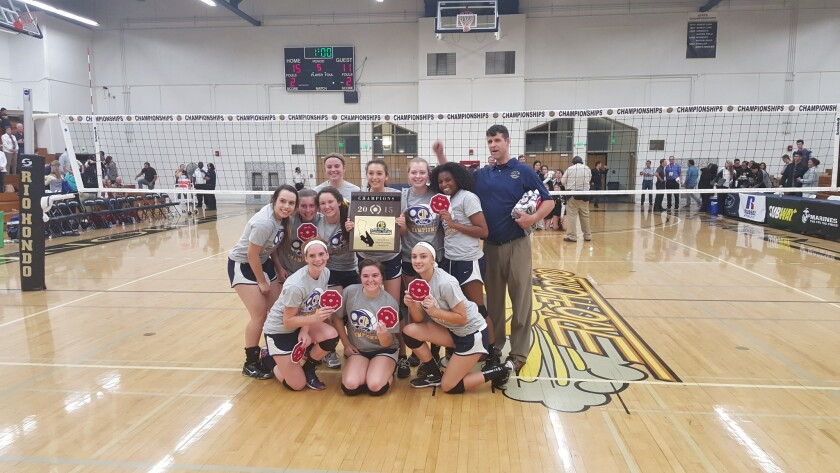 The 2015 CIF Southern Section Division V-A girls' volleyball champions from St. Monica Academy.