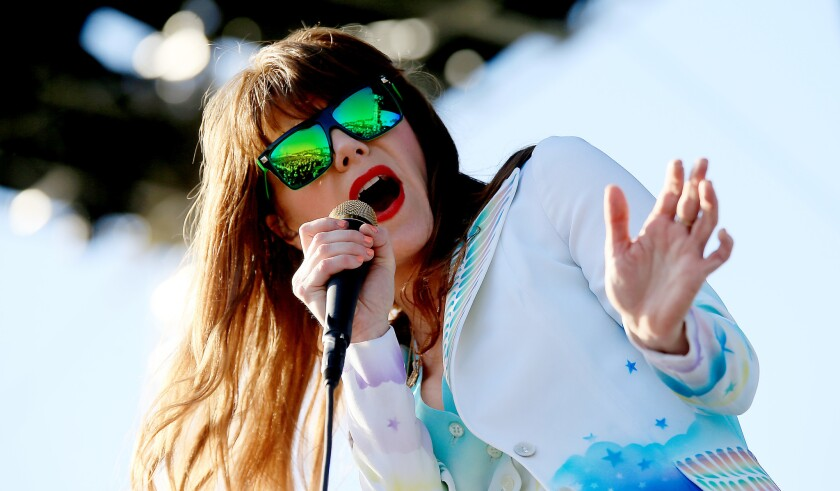 American singer-songwriter Jenny Lewis is seen performing at the Coachella Valley Music and Arts Festival on April 12, 2015.