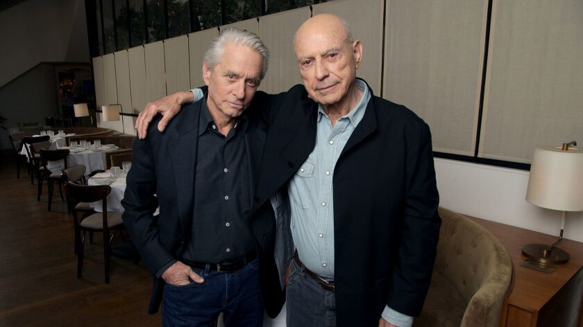 "Acting heavyweights Alan Arkin and Michael Douglas, who star in the new Netflix senior-buddy comedy ""The Kominsky Method."""