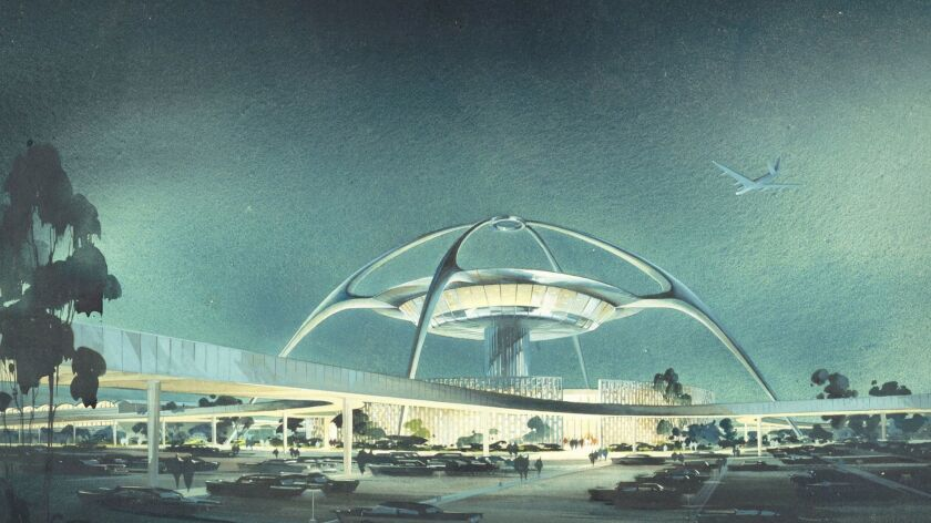A 1961 architectural drawing depicts the LAX Theme Building. Image courtesy of the Luckman Partnership Inc.