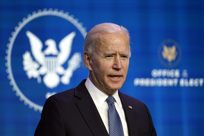 President-elect Joe Biden speaks during an event at The Queen theater in Wilmington, Del., Thursday, Jan. 7, 2021, to announce key nominees for the Justice Department. (AP Photo/Susan Walsh)