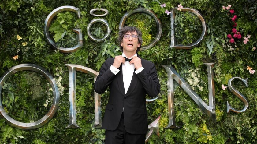 """Neil Gaiman attends the world premiere of """"Good Omens"""" at Odeon Luxe Leicester Square in London."""