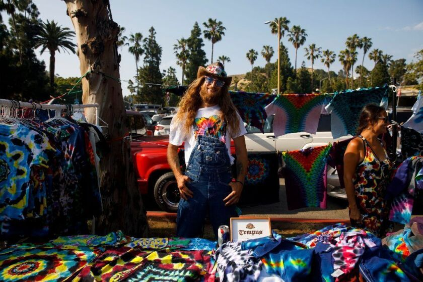 Brandon Lee Campbell of Interstellar Dye was among the many vendors selling tie-dye shirts in a parking lot outside of the Hollywood Bowl before the Dead & Company concert in early June.
