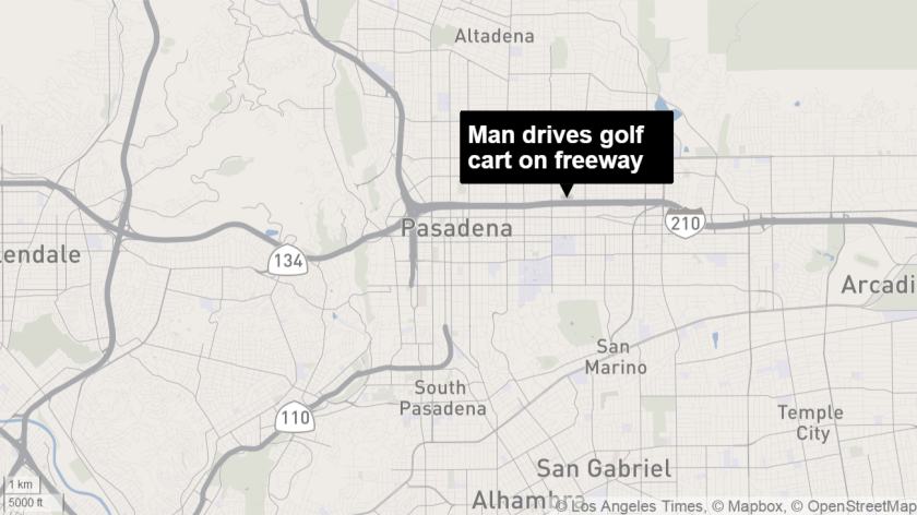 A man was arrested on suspicion of DUI after he allegedly drove a nine-passenger electric cart onto the 210 Freeway in Pasadena.