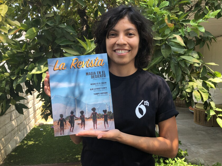 Ivette Zamora Cruz with a copy of La Revista, her Spanish-language magazine that covers Latinos in the Coachella Valley.