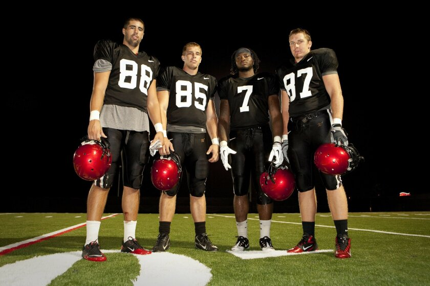 From left to right, San Diego State tight ends Gavin Escobar, D. J. Shields, Alston Umuolo and Bryce Quigley.
