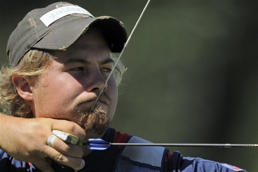 Brady Ellison of the United States aims during the men's individual archery competition at the Pan American Games in Guadalajara, Mexico, Saturday, Oct. 22, 2011. Ellison won the gold. (AP Photo/Daniel Ochoa de Olza)