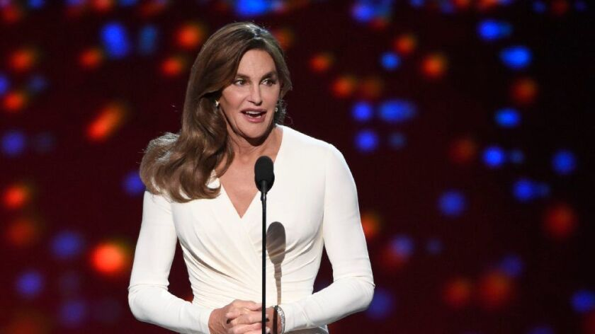 FILE - In this July 15, 2015 file photo, Caitlyn Jenner accepts the Arthur Ashe award for courage at the ESPY Awards at the Microsoft Theater, in Los Angeles.