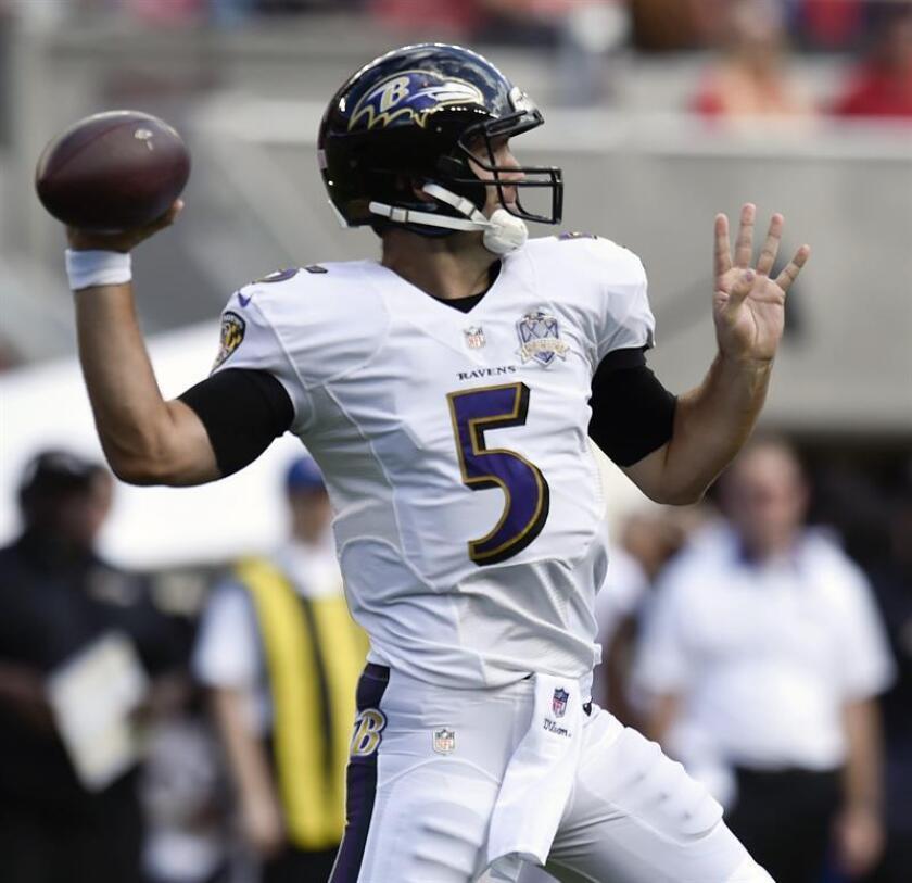 Flacco lanzó tres pases de touchdown para los Ravens, uno a cada uno de sus nuevos receptores. Baltimore reforzó su ofensiva en la temporada baja para mejorar un ataque aéreo carente de brillo. EFE/Archivo