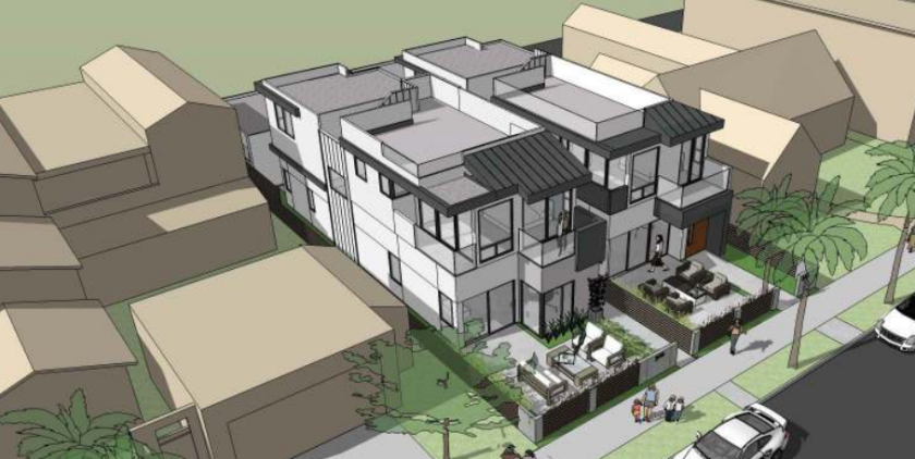 A rendering depicts a two-house development proposed for 304 and 306 Kolmar St. in Windansea.