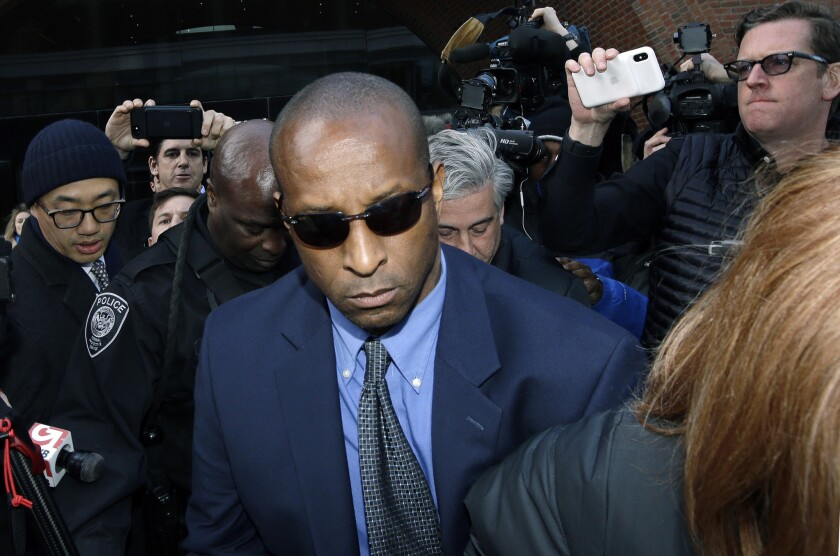 Rudy Meredith, former Yale women's soccer coach, departs federal court in Boston on March 28 after pleading guilty to charges in a nationwide college admissions bribery scandal.