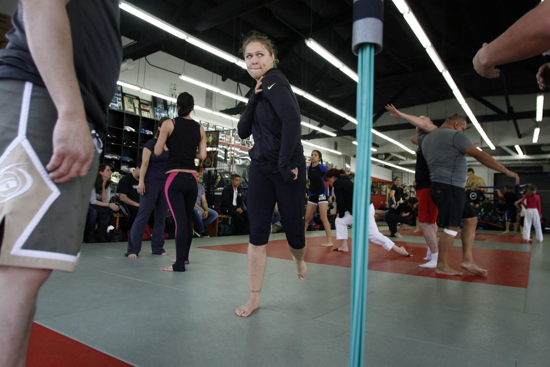 UFC women's bantamweight champion Ronda Rousey teaches at Glendale Fighting Club