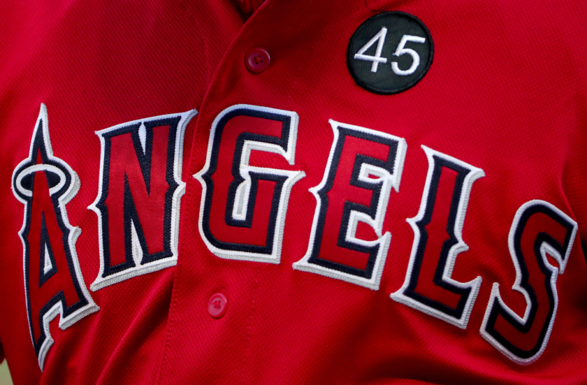 An Angels jersey with a No. 45 patch honoring pitcher Tyler Skaggs.