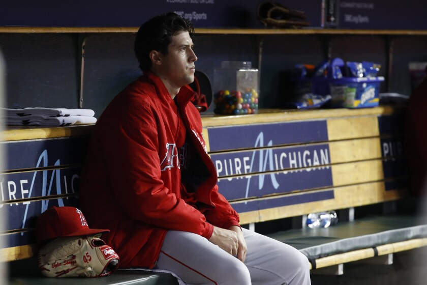 Angels pitcher Tyler Skaggs watches from the bench during a game against the Detroit Tigers on May 8.