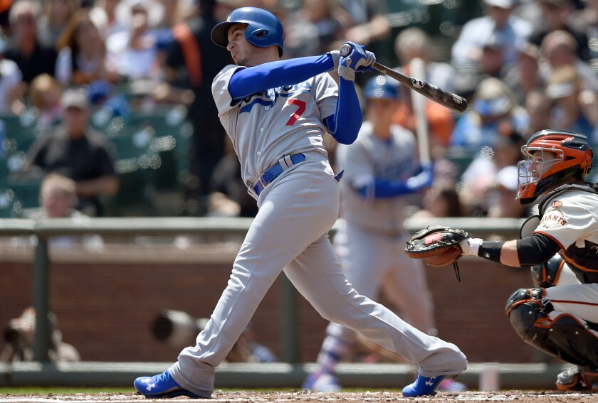 Dodgers infielder Alex Guerrero hits a solo home run against the Giants in the second inning -- his second homer in as many days.