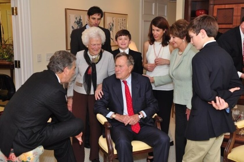 House Minority Leader Nancy Pelosi, second from right, and her family meet with former President George H.W. Bush and his wife, Barbara, in College Station, Texas.
