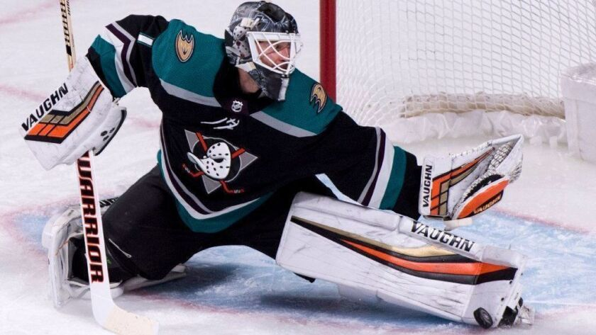 Ducks goaltender Chad Johnson makes a kick save against the Montreal Canadiens on Tuesday.