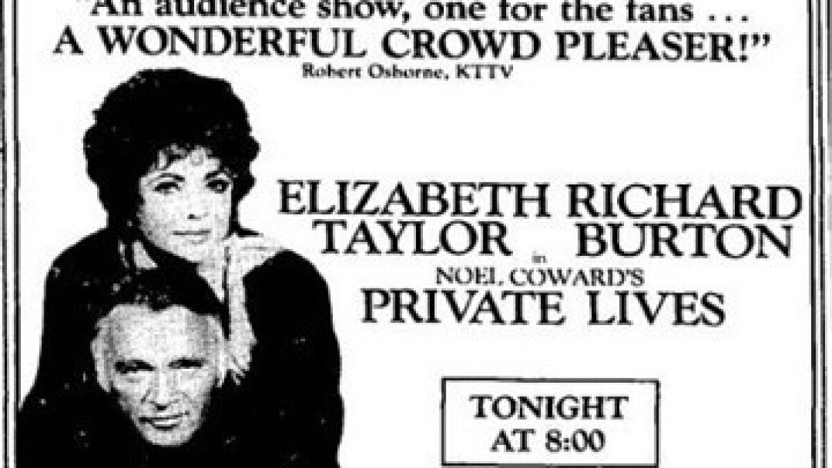 Burton and Taylor: 'Private Lives' review from The Times archives - Los Angeles Times