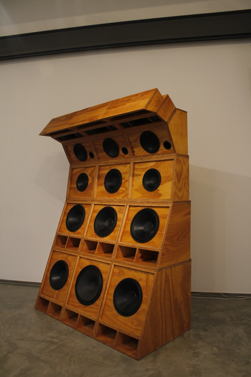 "Cosmo Whyte's ""Sole Imperial,"" 2019, plywood, 12 speakers, 3 horns, 15 tweeters"
