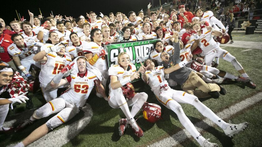 3065231_sd_sp_preps_fbopendiv_Cathedral Catholic vs Torrey Pines High School football open division played at Southwestern College.