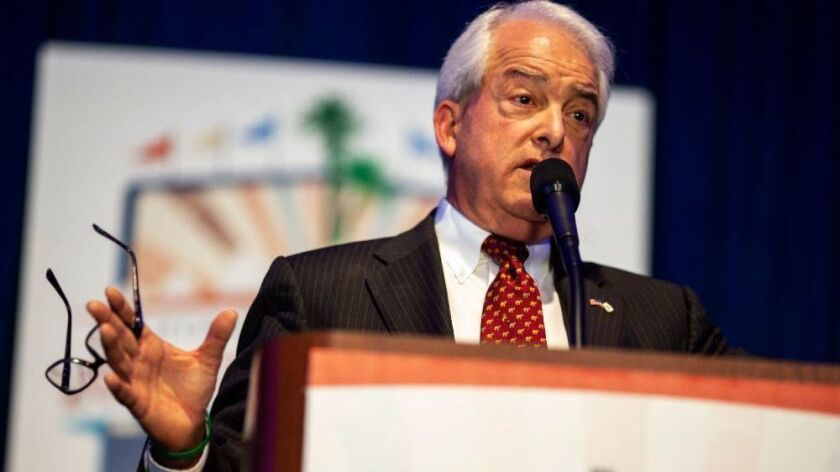 Republican gubernatorial candidate John Cox speaks to delegates during the 2018 California Republican Party Convention and Candidate Fair at the Sheraton San Diego Hotel & Marina on Saturday, May 5, 2018 in San Diego.