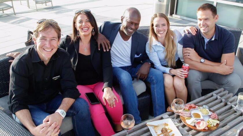Middle-ish: (from left) Stephane Richard, eeman agrama minert, Alexis Dixon, Lauren Avenius, and Ben