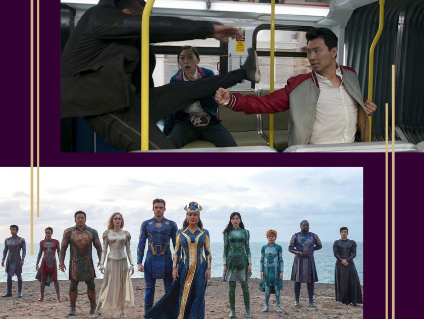 """Shang-Chi punches an opponent while riding a bus. Characters from """"Eternals"""" line up on a beach."""