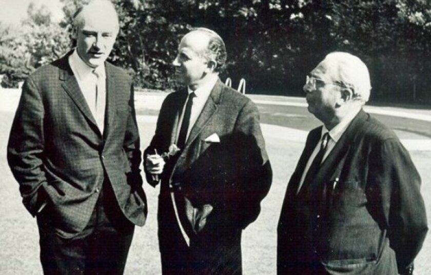Nobel laureate Francis Crick (left), Jonas Salk and Leo Szilard get together at the Salk Institute in 1964.