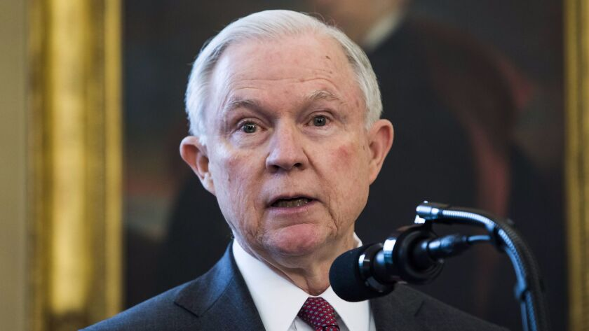 Atty. Gen. Jeff Sessions discussed marijuana policy after he was sworn in on Feb. 9.