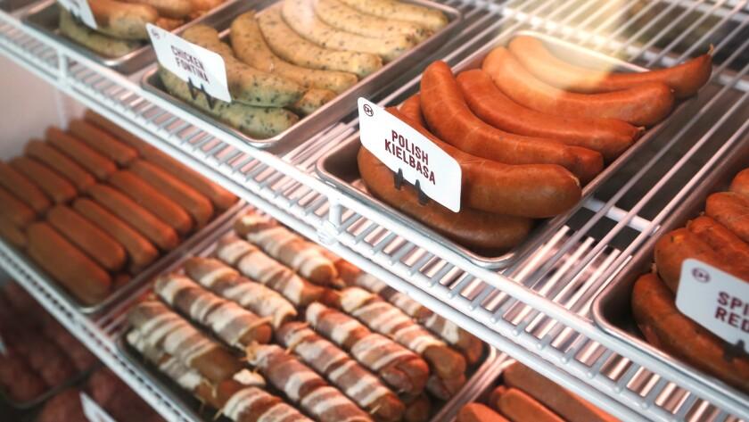 Various hot dogs at Dog Haus in Pasadena.