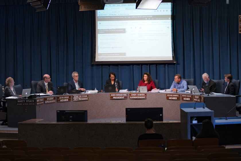 The San Diego Unified School Board at a meeting in April 2019.
