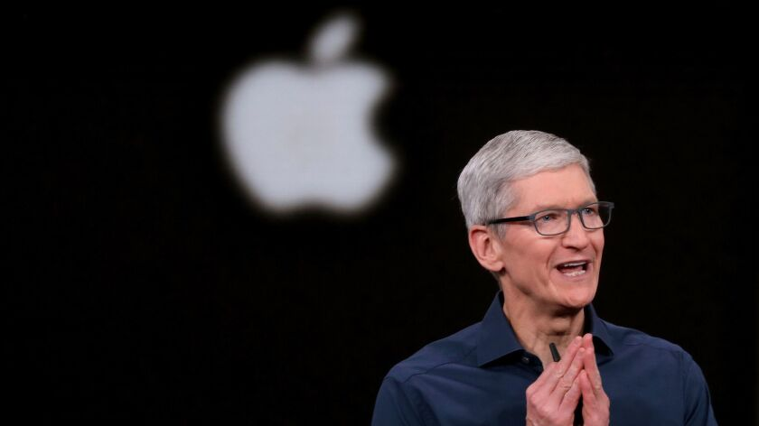 Apple Chief Executive Tim Cook opens the company's annual product launch on Sept. 12 in Cupertino, Calif.