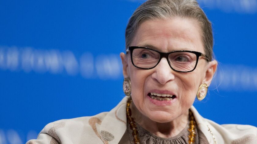 FILE - In this Feb. 4, 2015, file photo, Supreme Court Justice Ruth Bader Ginsburg speaks at Georget