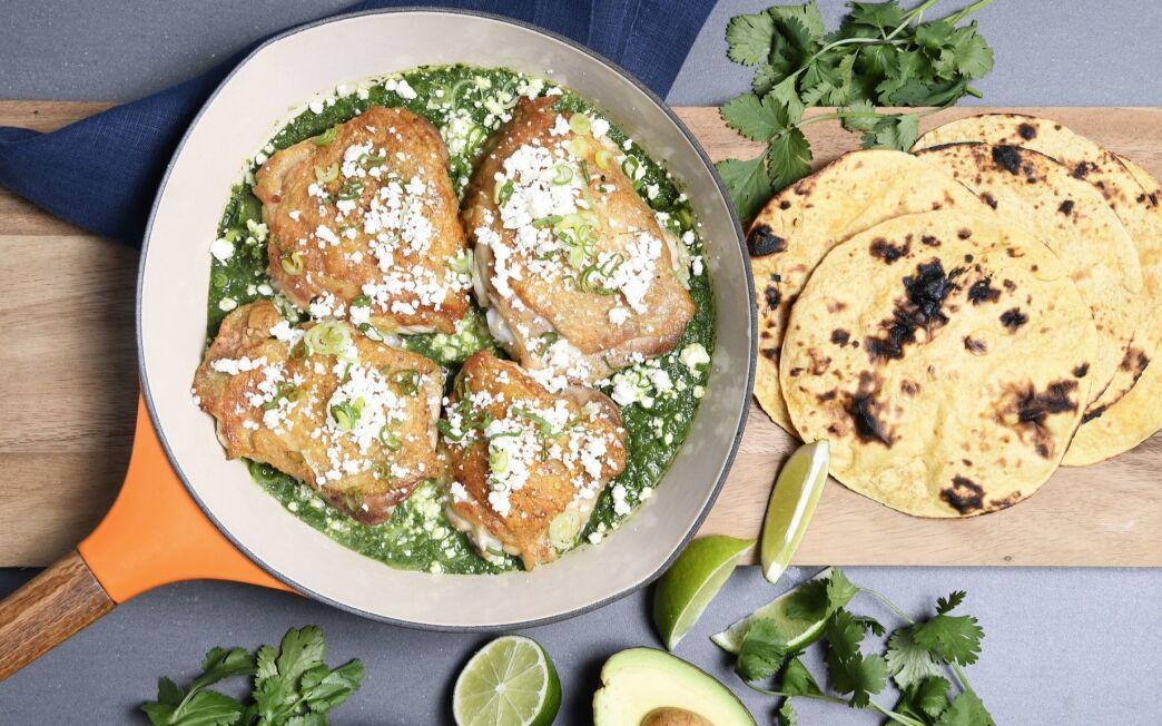 Chicken Thighs Braised in Spring Onion Salsa Verde
