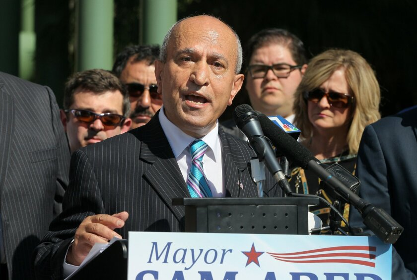 Escondido Mayor Sam Abed announces his candidacy for County Supervisor at a morning press conference in front of Escondido City Hall.