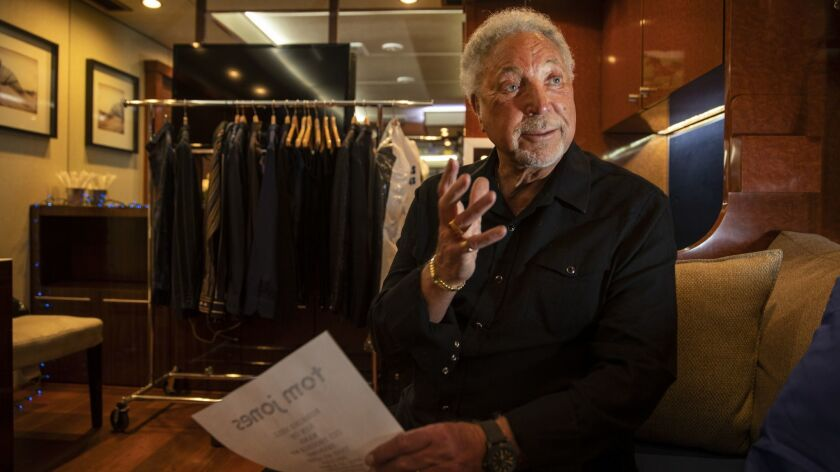 INDIO, CALIF. -- SUNDAY, APRIL 28, 2019: Tom Jones holds his set list while talking about his life i