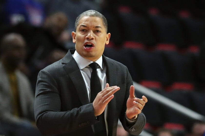 Tyronn Lue coaches the Cleveland Cavaliers in 2018.