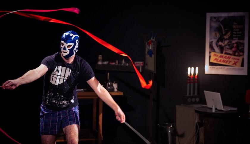 "Steven Strobel in Echo Theater Company's ""Found Dog Ribbon Dance."""