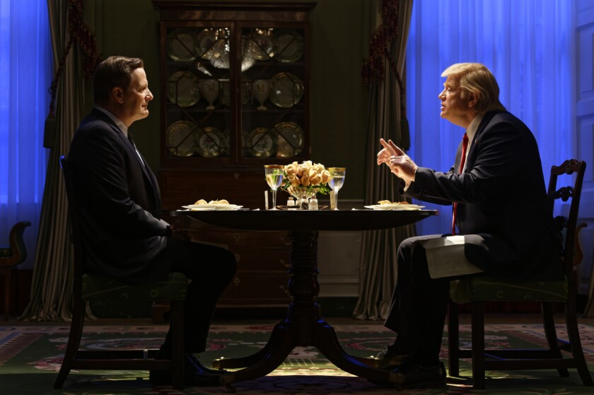 "Jeff Daniels as James Comey, left, and Brendan Gleeson as Donald Trump in ""The Comey Rule."""